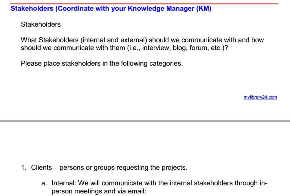 stakeholder section